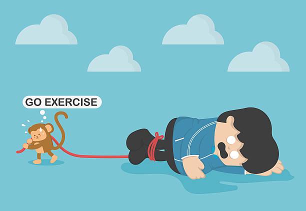 bildbanksillustrationer, clip art samt tecknat material och ikoner med monkey force obese people to exercise, exhaustion from exercise - gym skratt