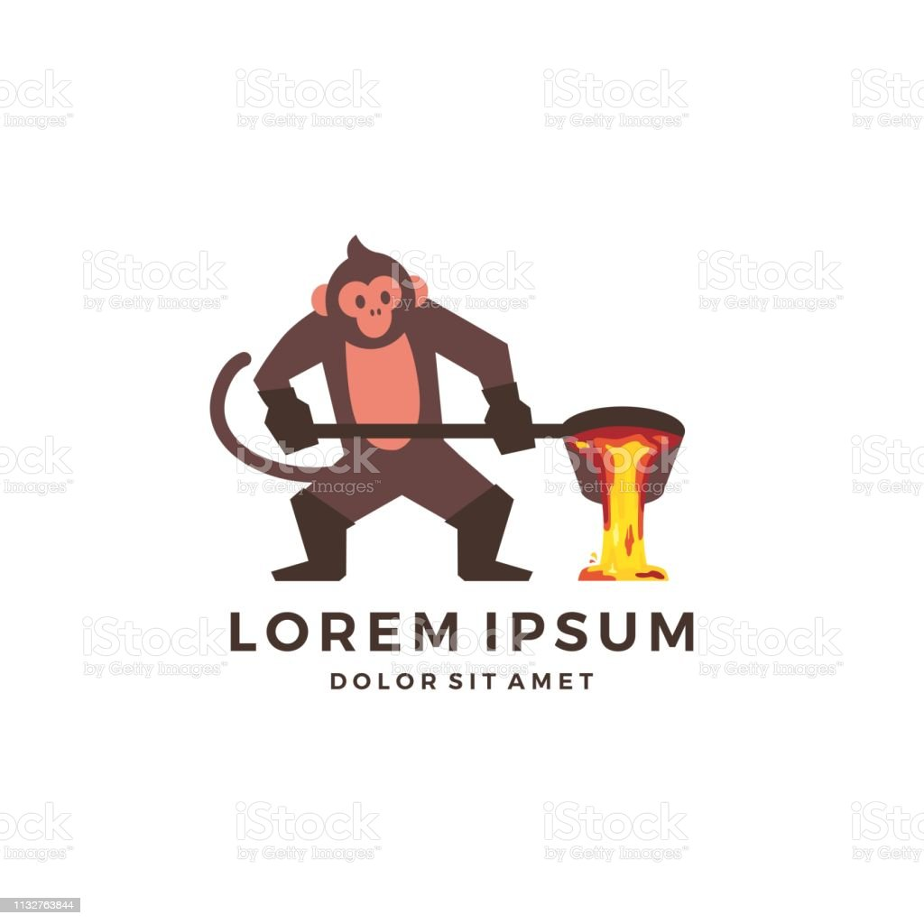 monkey foundry mascot character chimp vector download