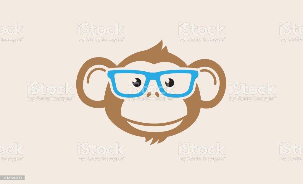 猿のオタク漫画シンボル デザイン ベクターアートイラスト