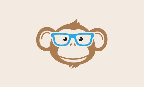 monkey geek cartoon symbol design - monkey stock illustrations