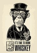 Monkey gentleman holding antique pocket watch and dressed in a hat, suit, waistcoat. Time to Drink lettering. glass bourbon. Vintage vector engraving illustration for web, poster, invitation to party