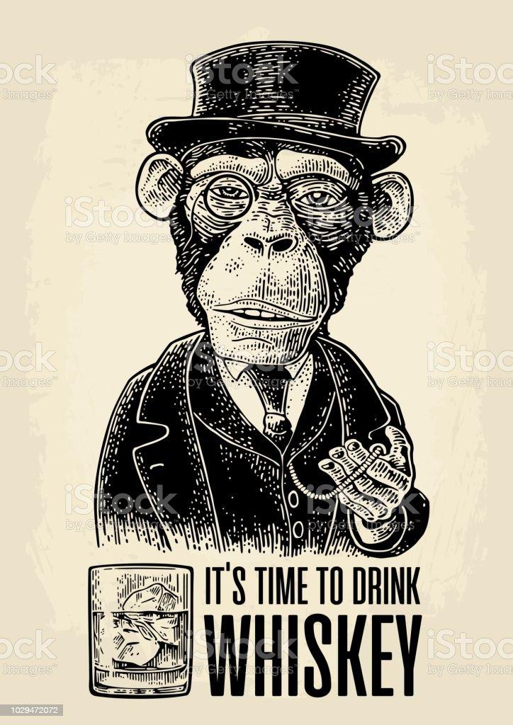 猿の紳士スーツ時計と服を着て帽子を保持しています。彫刻 ベクターアートイラスト
