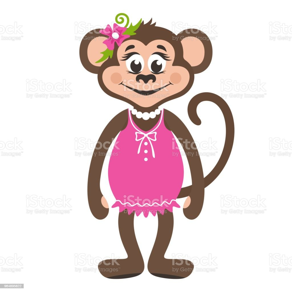 A monkey girl in a pink dress and with a flower on her head. royalty-free a monkey girl in a pink dress and with a flower on her head stock vector art & more images of africa