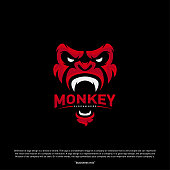 Monkey Gorilla Esport gaming mascot  template Vector. Modern Head Monkey  Vector