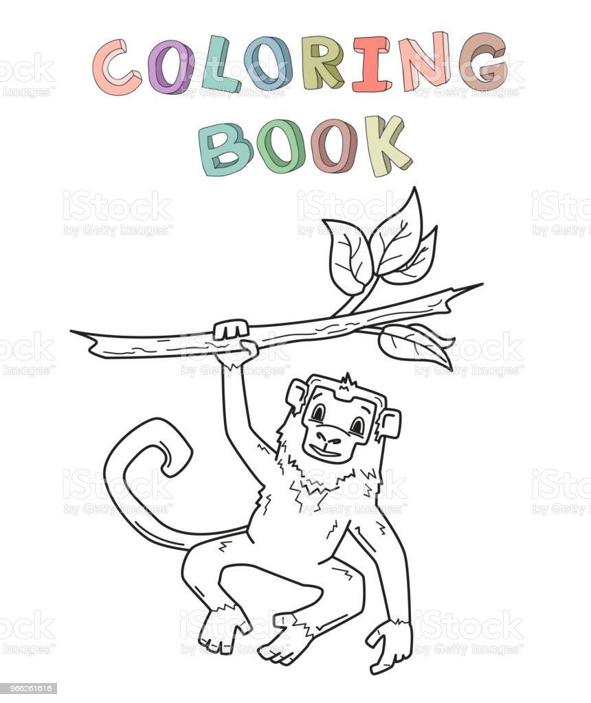 Maymun Bir Dalda Asılı Orman Hayvan Karakter Boyama Kitabı Için