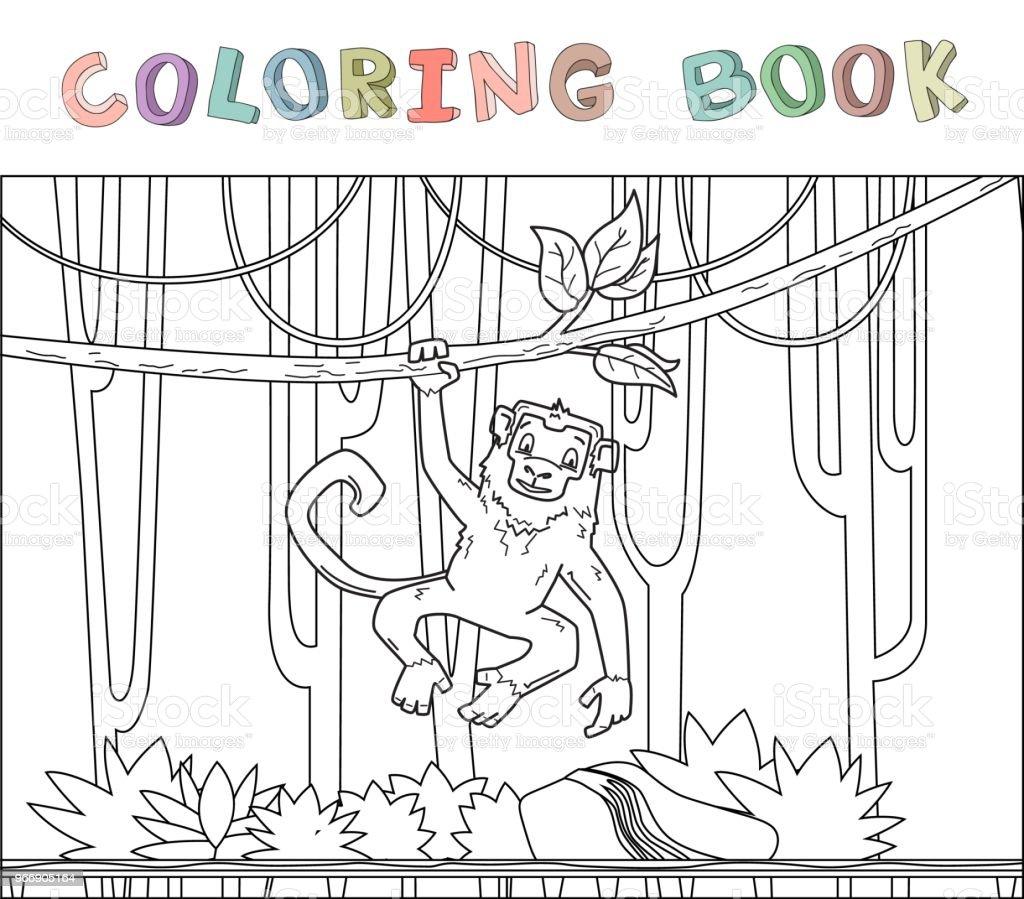 ilustração de macaco pendurado em uma videira da selva na floresta