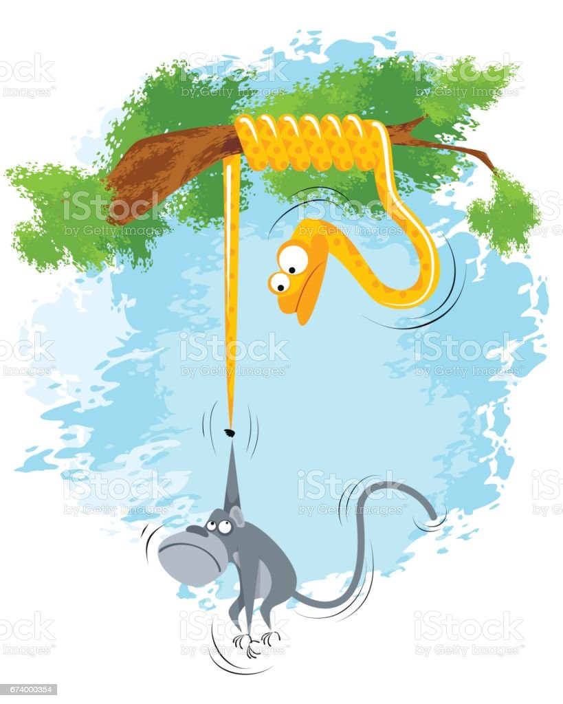 Monkey hangs on snake royalty-free monkey hangs on snake stock vector art & more images of animal