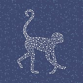 Monkey - Happy new year 2016 symbol on night sky background. Year Of The Monkey. Vector Illustration monkey with astrological constellation.