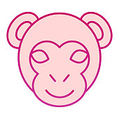 Monkey head flat icon. Minimal style face symbol, little gorilla or chimpanzee. Animals vector design concept, gradient style pictogram on white background, graphic for web or app