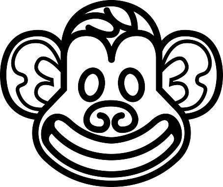 Maymun Kafa Simgesi Sablonu Stok Vektor Sanati Animasyon