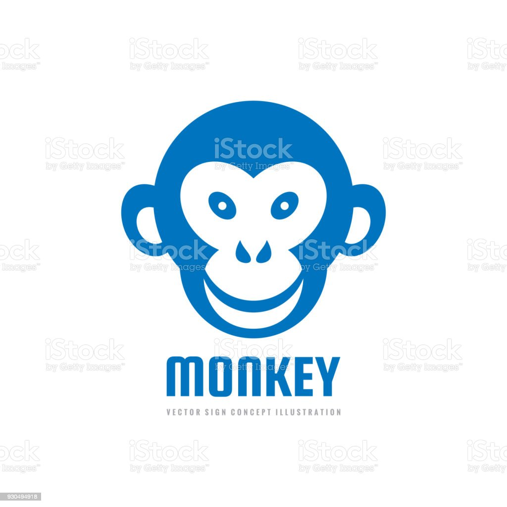 monkey head smile vector sign template concept illustration graphic
