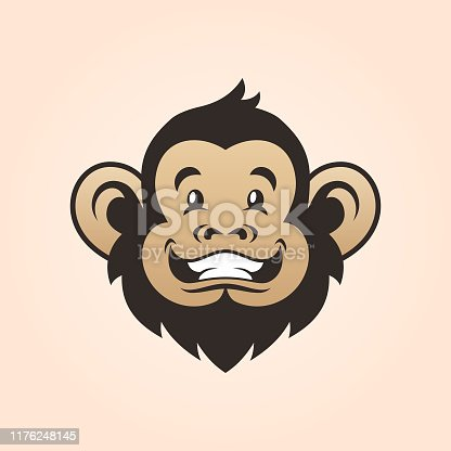 istock Monkey head. Smiling monkey face 1176248145
