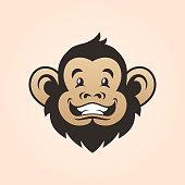 istock Monkey head. Smiling monkey face 1176248145