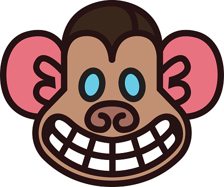 Maymun Kafa Sablonu Stok Vektor Sanati Animasyon Karakter Nin