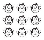Monkey heads with various facial expressions - outline vector icon set