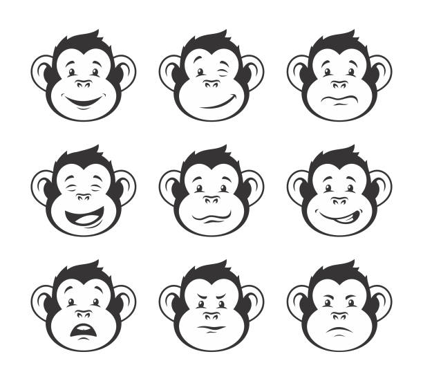 Monkey heads with various facial expressions - vector icon set Monkey heads with various facial expressions - outline vector icon set monkey stock illustrations