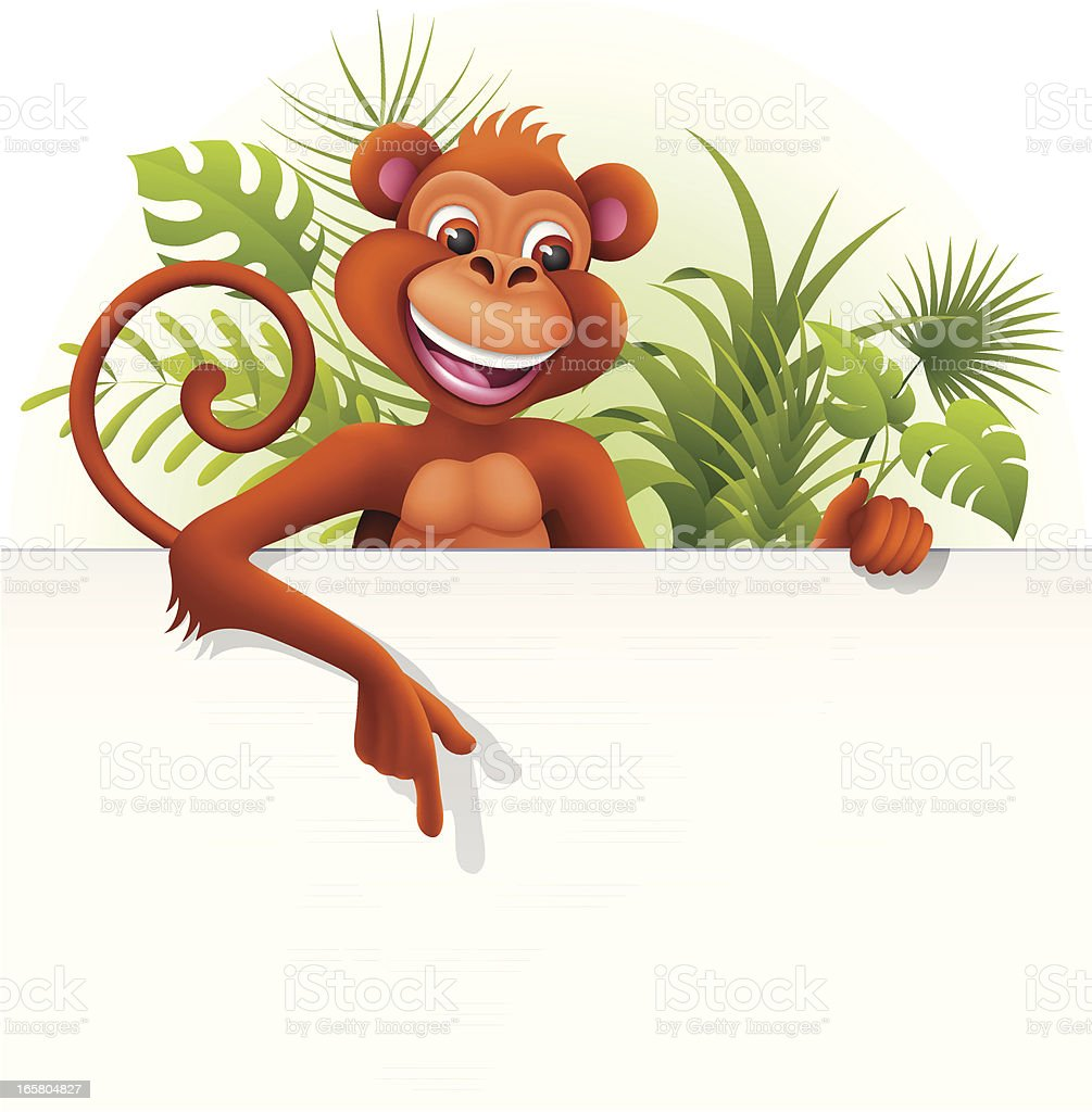 Monkey holding a blank sign royalty-free stock vector art