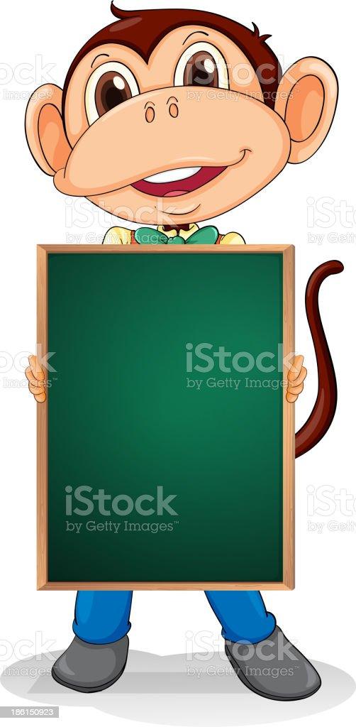 monkey holding an empty blackboard