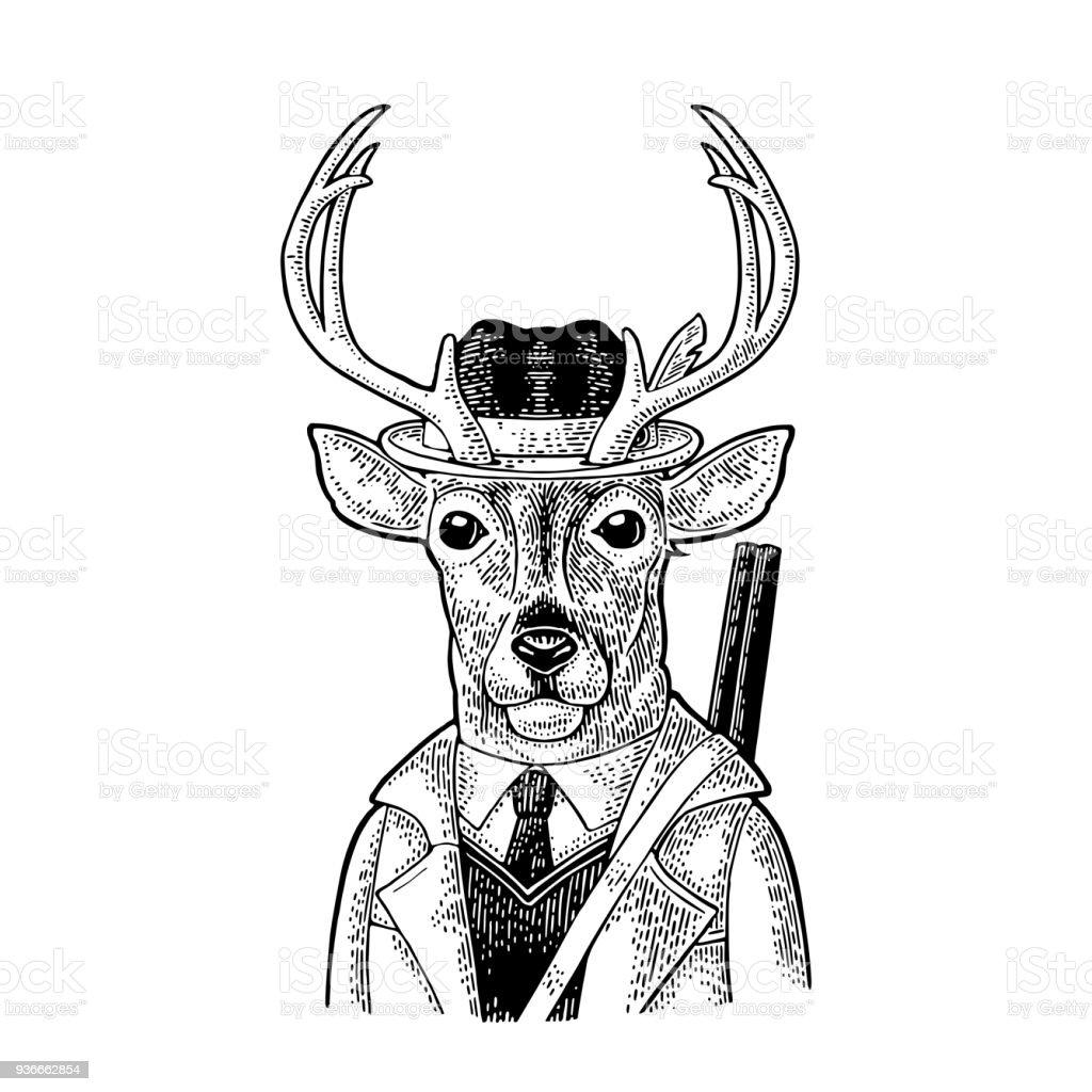 Ilustración de Mono Cazador Con Arma Vestido Capa Sombrero Vintage ...
