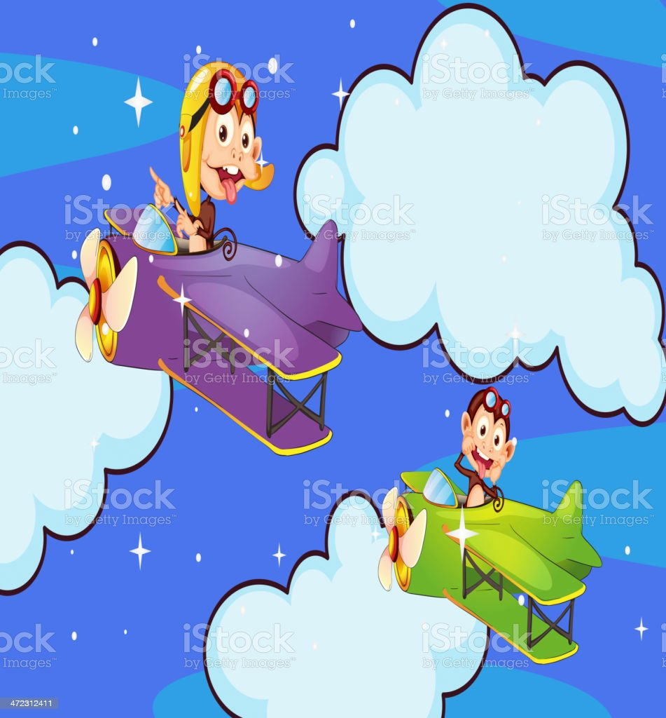 Monkey in aircraft royalty-free stock vector art