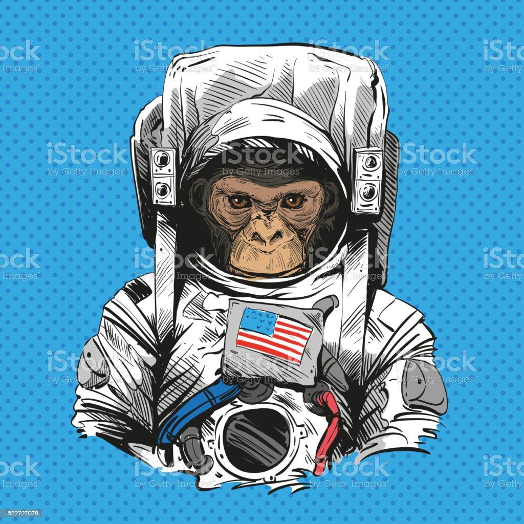 Affe in Astronaut Anzug. Handgezeichnet Vektor-illustration – Vektorgrafik