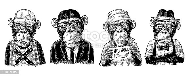 Monkey in human clothes. Redneck, businessman, hipster, biker, soldier, beggar. Vintage black engraving illustration for poster. Isolated on white background
