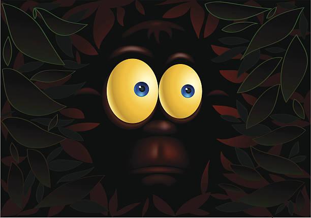 ilustraciones, imágenes clip art, dibujos animados e iconos de stock de monos en la oscuridad - ojos azules
