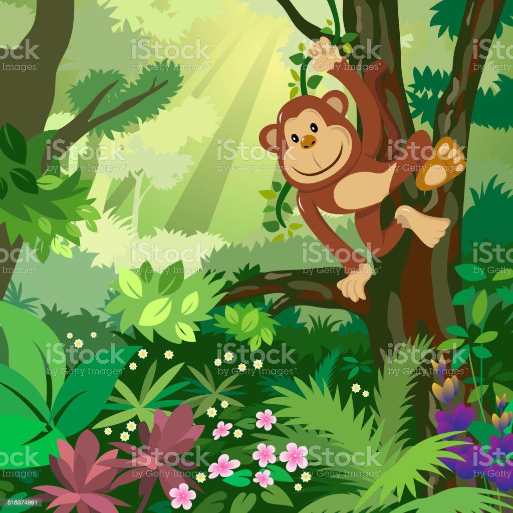 Affe in den Wald – Vektorgrafik