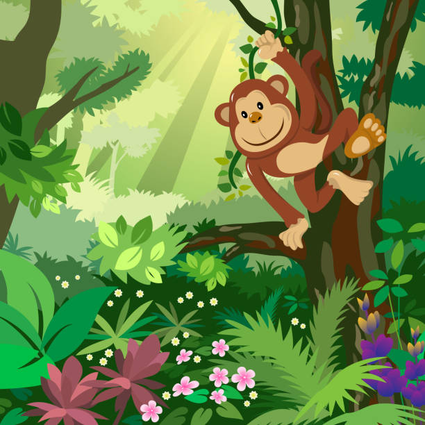 monkey in the forest - monkey stock illustrations