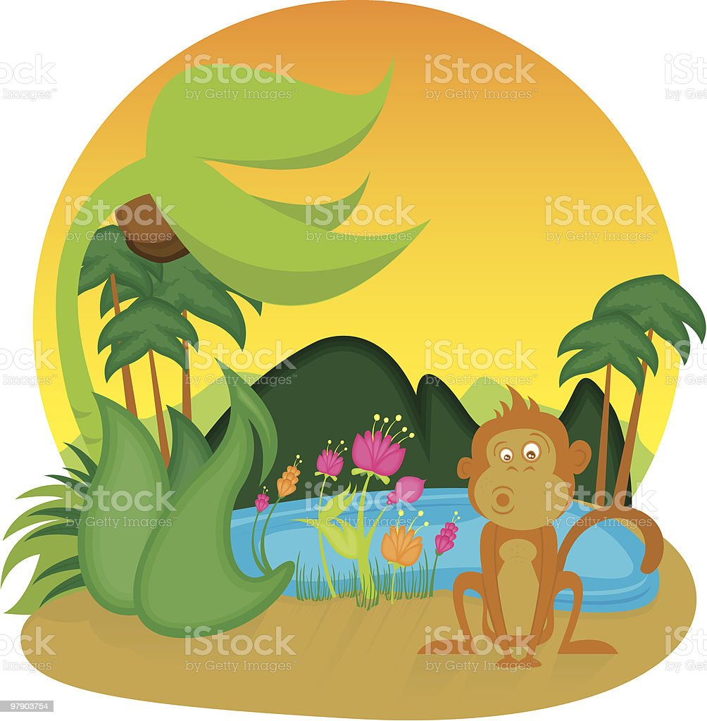 Monkey in the Jungle royalty-free monkey in the jungle stock vector art & more images of animal