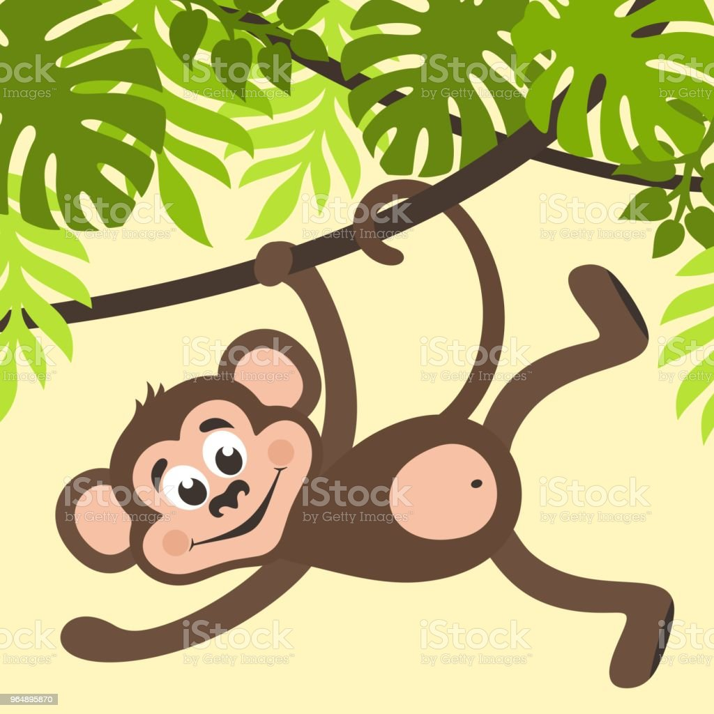 Monkey is hanging on a creeper. royalty-free monkey is hanging on a creeper stock vector art & more images of animal