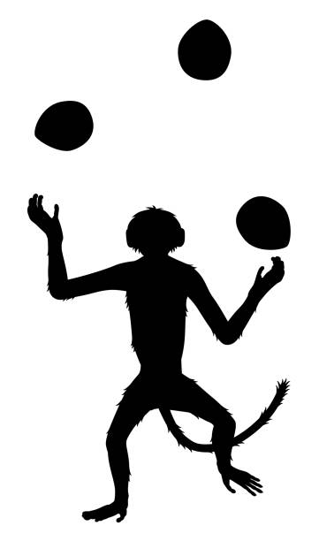 Monkey juggling coconuts sihouette vector art illustration