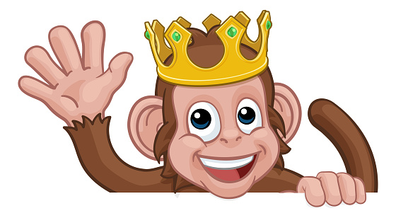 Monkey King Crown Cartoon Animal Sign Waving