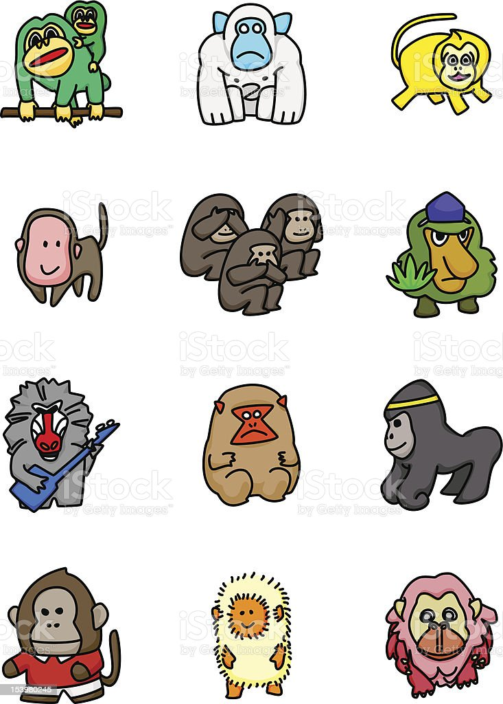 Monkey Mascots vector art illustration