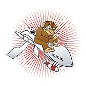 monkey on a drone cartoon