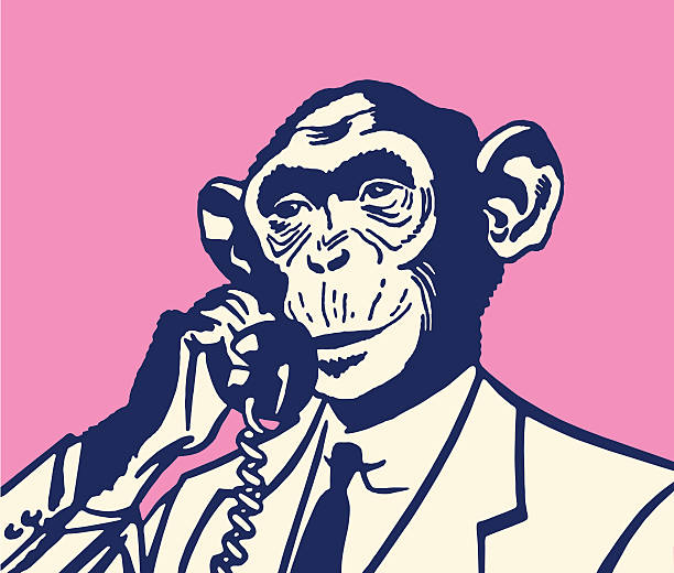 Monkey am Telefon – Vektorgrafik