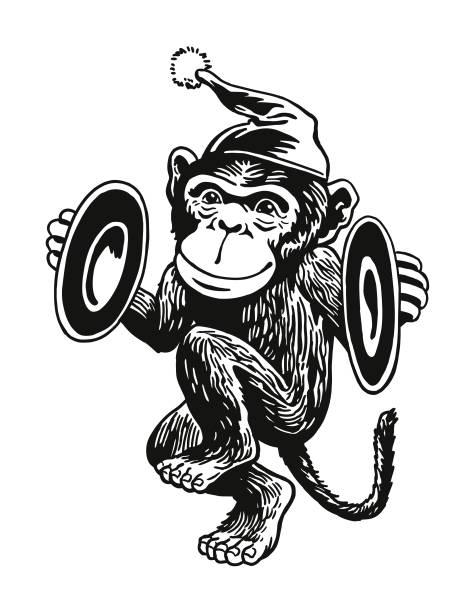 monkey playing cymbals - talerz perkusyjny stock illustrations