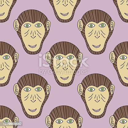 Monkey print. Chimpanzee seamless pattern. Vector background for textile, wallpaper, print, new year wrapping paper.