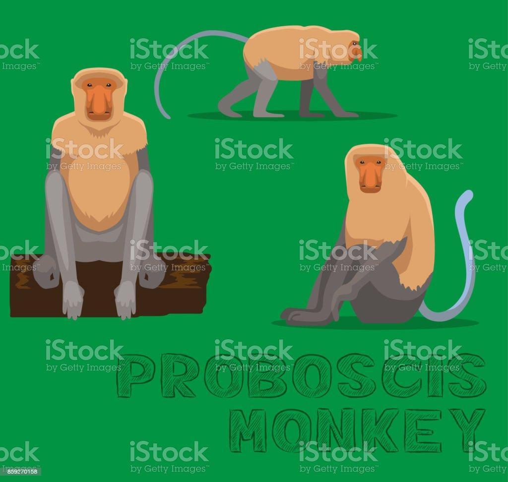 Monkey Proboscis Cartoon Vector Illustration vector art illustration