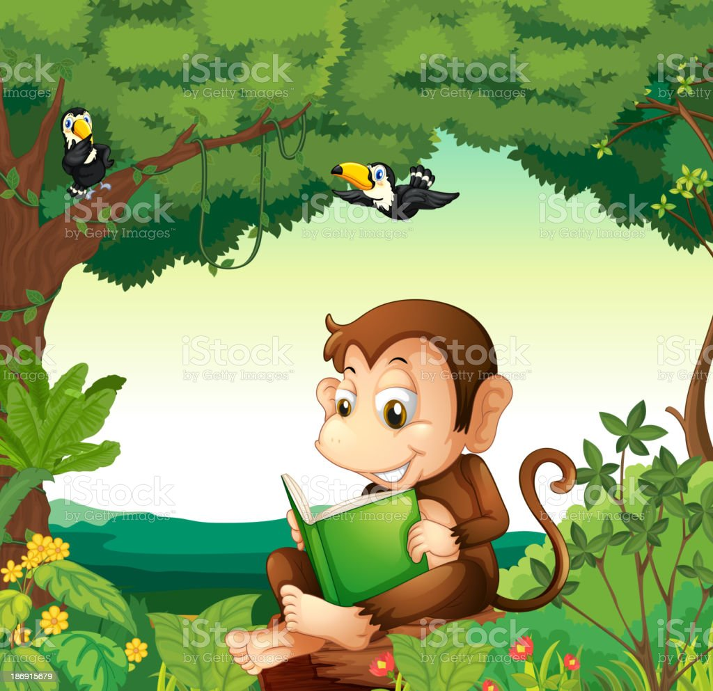 Monkey reading a book at the forest royalty-free monkey reading a book at the forest stock vector art & more images of animal