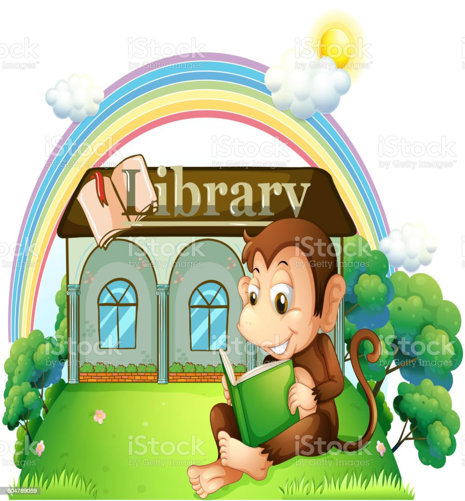 Outside Reading a Book Clip Art