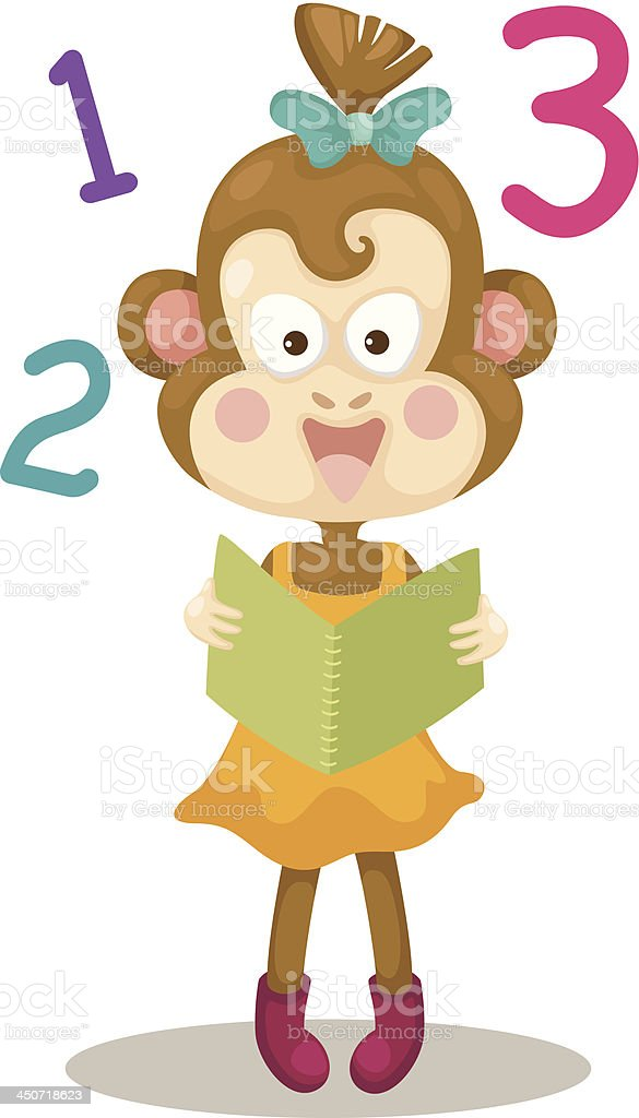 monkey reading a book royalty-free stock vector art