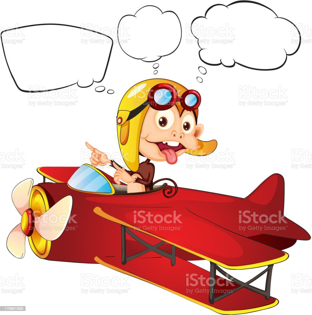 Monkey riding on a red plane royalty-free stock vector art