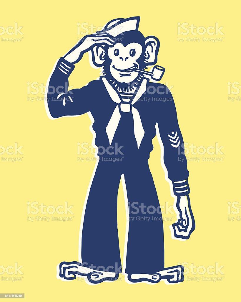Monkey Sailor royalty-free stock vector art