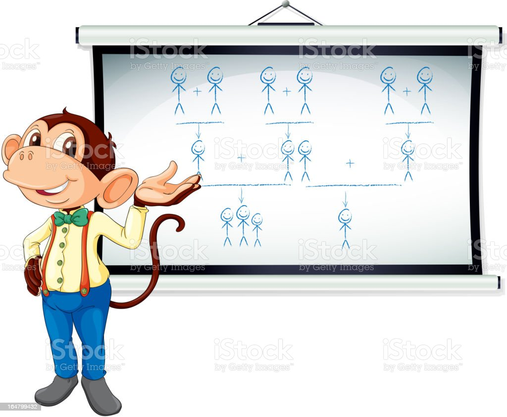 Monkey showing white board royalty-free stock vector art