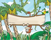 Detailed vector illustration of a monkey in the jungle hanging upside down from a vine holding a cross section of a tree for copy space. File saved in layers for easy editing.