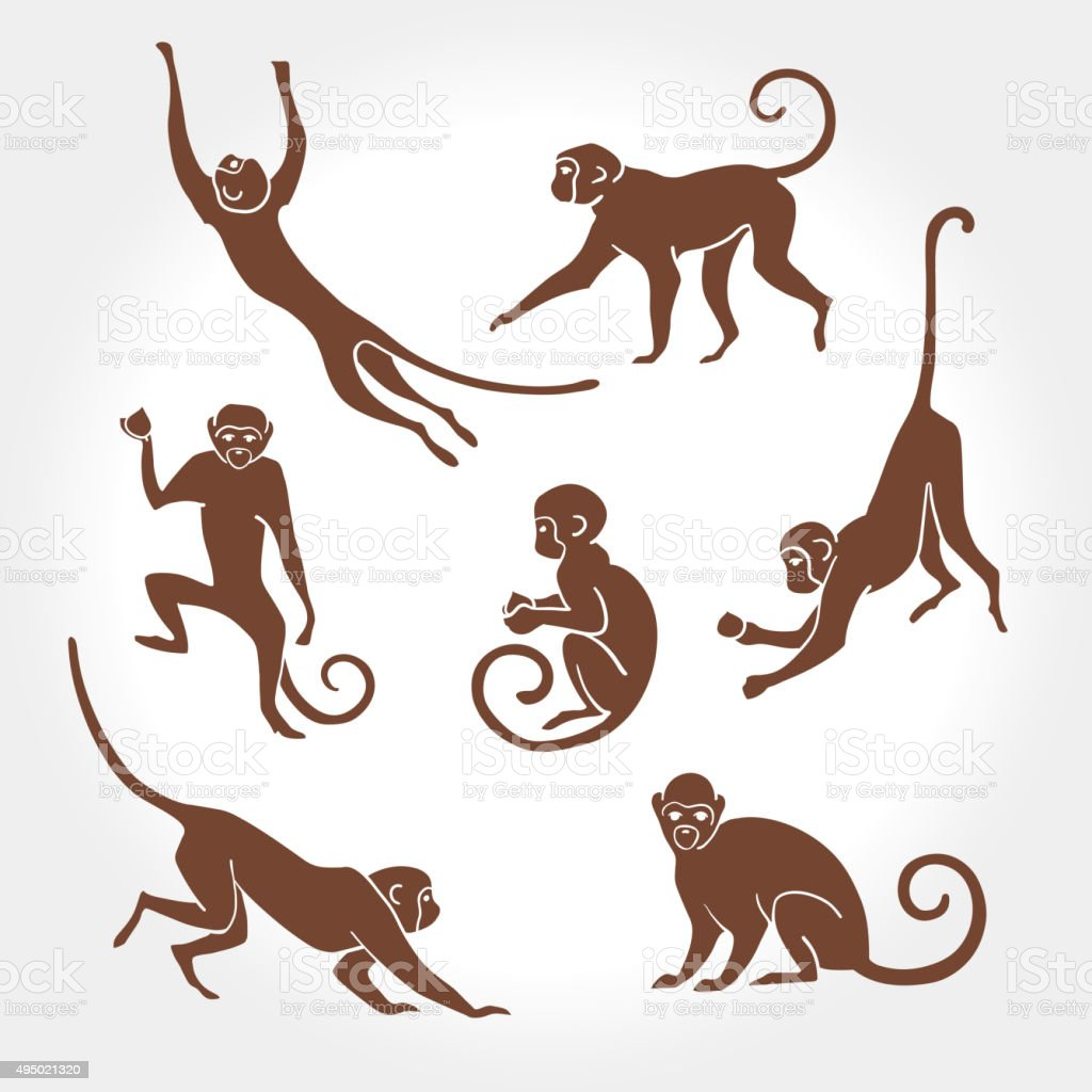 Monkey silhouette – Vektorgrafik