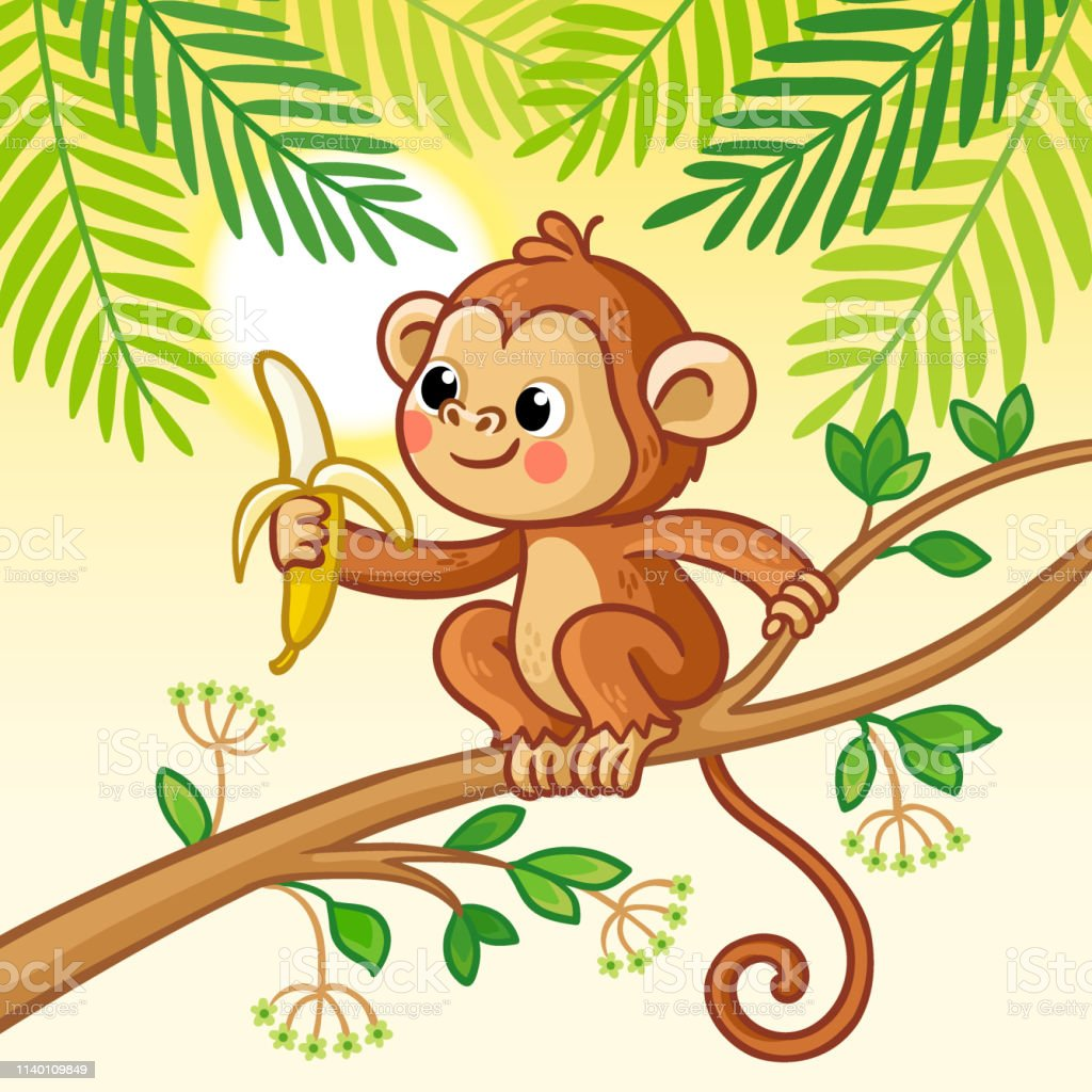 Monkey Sits On A Tree And Eats A Banana Cute Animal In Cartoon Style Stock Illustration Download Image Now Istock 1,002 cartoon monkey tree products are offered for sale by suppliers on alibaba.com, of which christmas decoration supplies accounts for 1 there are 208 suppliers who sells cartoon monkey tree on alibaba.com, mainly located in asia. monkey sits on a tree and eats a banana cute animal in cartoon style stock illustration download image now istock
