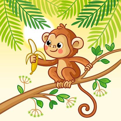 Affe Sitzt Auf Einem Baum Und Isst Eine Banane Niedliches ...