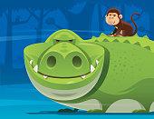 monkey sitting on back of crocodile